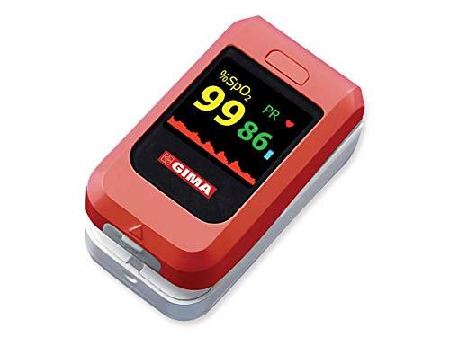 GIMA Saturimetro Oxy-10 Wireless Pulsoximetro da Dito, Portatile, Rileva Saturazione, Battito e Perfusione, 2 pile AAA Incluse, Allarmi Visivi e Acustici, Display OLED a Colori