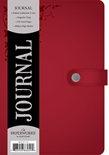 Paperworks Soft Leatherette Journal with Magnetic Fold-Over Closure, 256 Lined Pages, Assorted Color, Color May Vary (86049-12)
