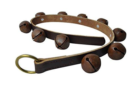 Rustic Bells, 30' Brown Leather Strip, 10 Antique Vintage Finish Brass Plated Bells, Sleigh Bells, Brass Bells, Jingle Bells, Christmas Bells, Dog Training, Amish Handmade Leather