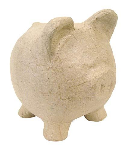 Décopatch AC764C Spardose Schwein aus Pappmaché, 12 x 12 x 12 cm, zum Verzieren, perfekt für Ihre Wohndeko, kartonbraun