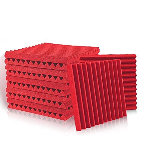 Schallabsorber Akustikschaumstoff, 12 Stück Rot Acoustic Foam für Podcasts, Aufnahmestudios, Büros, Home Learning, Akkustik Schaumstoffmatte(30 x 30 x 2.5 cm)