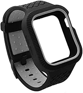 Silicone Shockproof Protective Watch Band and Case Size 44 MM For Apple Watch Series 6/5/4 - Black x Grey