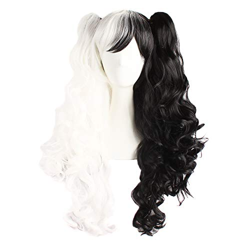 MapofBeauty Multi-color Lolita Long Curly Clip on Ponytails Cosplay Wig (White/Black)
