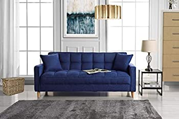 Divano Roma Furniture Modern Linen Fabric Tufted Small Space Living Room Sofa Couch  Dark Blue