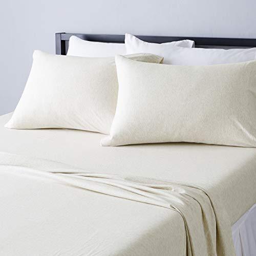Amazon Basics - Juego de sábanas de jersey jaspeado, tamaño King, avena