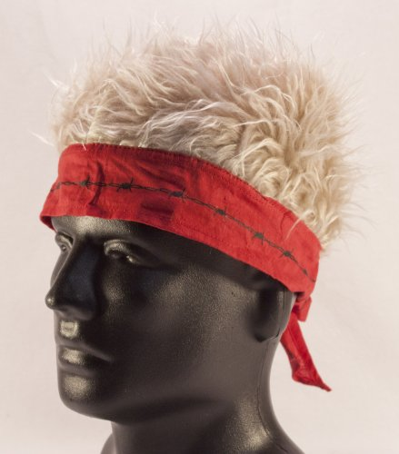 Red Barbed Wire Bandana with Blonde Hair