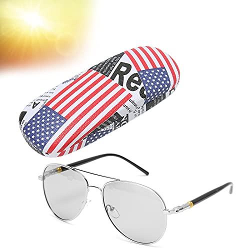 Gafas de sol deportivas polarizadas, Gafas Anti-UV Color Marco negro Lente polarizada cambiante Gafas de protección fuerte contra la luz, Gafas de sol de conducción antideslizantes (Marco de plata)