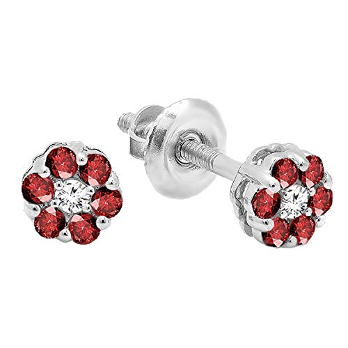 Dazzlingrock Collection 10K Round Ruby & White Diamond Ladies Cluster Flower Earrings, White Gold