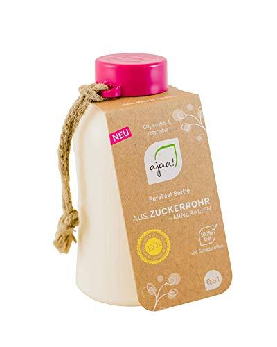 ajaa! Bio Trinkflasche 400ml - Wasserflasche auslaufsicher BPA frei ohne Melamin, aus nachwachsende Rohstoffen (pink)