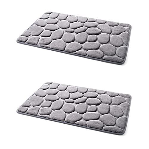 Lot de 2 tapis de bain antidérapants Motif galets Gris