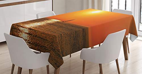 Náutico Mantele, Velero del Sol del mar, Resistente al Agua Apto Uso Exterior e Interior No Destiñen, 140 x 200 cm, Naranja