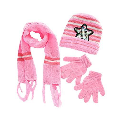Tonsee Enfants Crochet Chapeau Fourrure en Laine Tricot Bonnet Raton Laveur Bonnets Chauds + Écharpe + Gants Costume