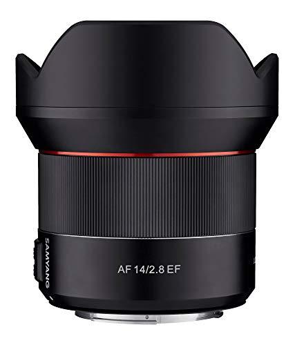 Samyang SA7051 - Objetivo de focal fija con auto focus para cámaras digitales AF 14mm F2.8 CANON EF., color negro