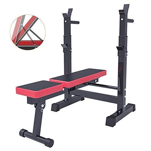 Barres de traction Support de squat Bench Press Support d'haltères de fitness pour hommes Étagère multifonctionnelle Salle de gym intérieure à domicile Lit d'haltérophilie pliable Support de musculat