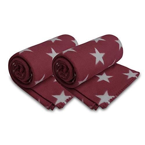 2er Set Polar Fleecedecke 130x160 cm ca. 400g schwer OekoTex mit Anti-Pilling und Kettelrand Sterne rot dunkelrot hellgrau, weitere Farben erhältlich