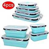 Plastic Food Storage Containers With Lids -4PC Silicone Collapsible...