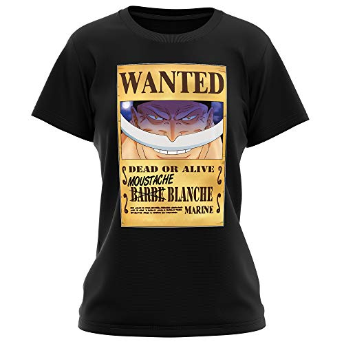 T-Shirt Femme Noir One Piece parodique Edward Newgate - Barbe Blanche : Le Wanted Secret. : (Parodie One Piece)
