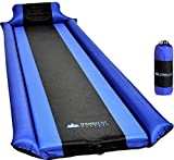 IFORREST Sleeping Pad with Armrest & Pillow - Protection of Rollover, Ultra-Comfortable Self-Inflating Camping Foam Mattress for Hiking and Backpacking - Ideal Air Bed for Cot, Tent & Hammock (Blue)