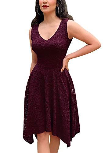 MIUSOL Damen Ärmellos Spitzenkleid Partykleid 1950er Cocktailkleid Abendkleid Schwingen Pinup Rockabilly Weinrot L