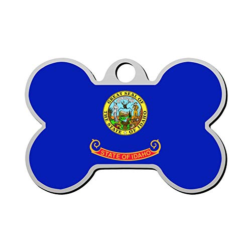GPZHM Idaho Flag Pet Tag - Bone Shaped Dog Tag & Cat Tags Pet ID Tag Personalized Custom Your Pet's Name & Number 3D Printing