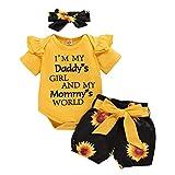 FYMNSI Conjunto de verano para bebé, de manga corta, con volantes, pelele + pantalones cortos + cinta para la cabeza, 3 piezas, para 0 – 18 meses amarillo + negro girasol 6-12 Meses