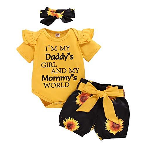 Conjunto de 3 piezas de ropa para recién nacido, para tarta de cumpleaños, con volantes y pantalones cortos de girasol + diadema con lazo