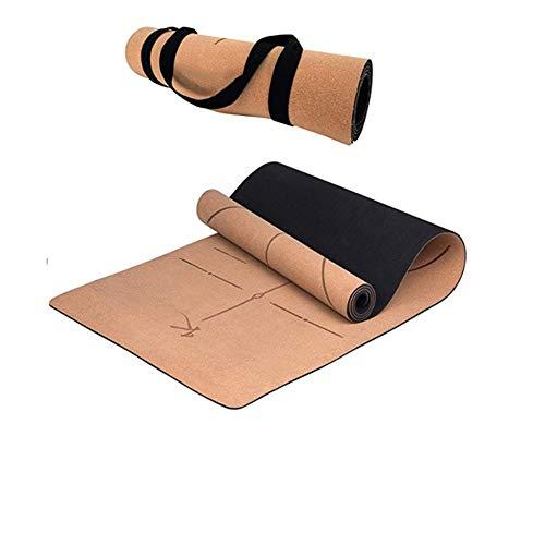 Mosako - Alfombra de yoga ecológica de corcho natural, antideslizante, gruesa, alfombra de yoga de corcho con correa de transporte, alfombra deportiva, fitness, pilates, yoga mate, 183 x 61 x 0,5 cm