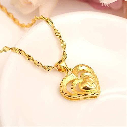 ZGYFJCH Co.,ltd Collar Colgante de Oro con Cadena de Oro Lleno de Amor romántico corazón joyería Vintage Mujer niña Madre Regalo