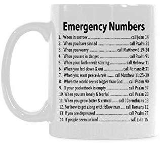 Sampson Milne Lustiger Weihnachtstag-Becher - Bibel-Notrufnummern? Kaffee? Becher? Oder? Tee? Schale, Keramik? Material? Becher, Weiß? Inspirierende Geschenke 11OZ für Freunde?