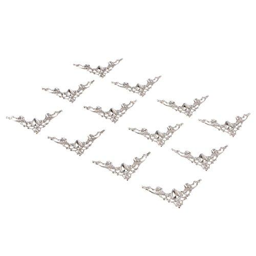 12 Piezas Soportes de Esquina Antiguo Ángulo Recto Accesorios de Hardware Muebles - Blanco