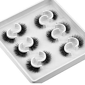 HBZGTLAD 6 Pairs Fluffy False Eyelashes Natural Faux Mink Strip 3D Lashes Pack
