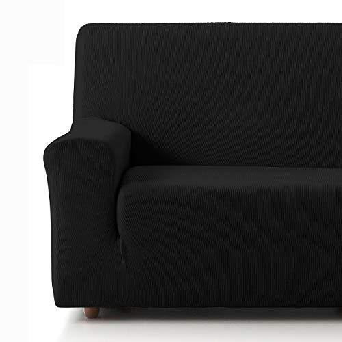 Eiffel Textile Funda Sofa Elastica Protector Adaptable Rústica Sofá 3 Plazas, 50% Poliéster, Negro