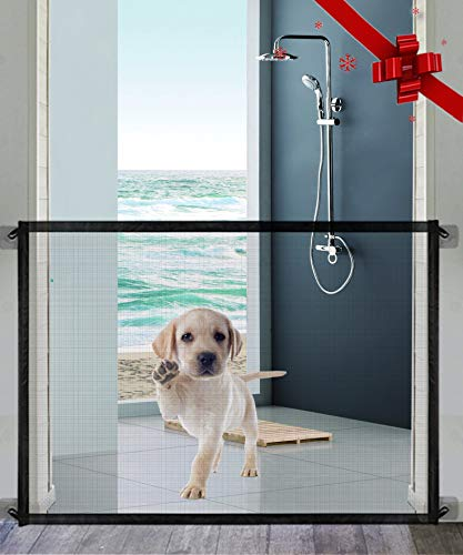 Magic Dog Gate Queenii Pet Safety Guard Gate Portable Folding Mesh Magic Gate Baby Safety Gates Install Anywhere Safety Fence for Hall Doorway Wide 41quotBlack