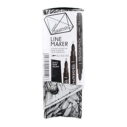 Derwent Graphite Pens, Graphik Line Maker Drawing Pens, Black, 3 Pack (2302207)