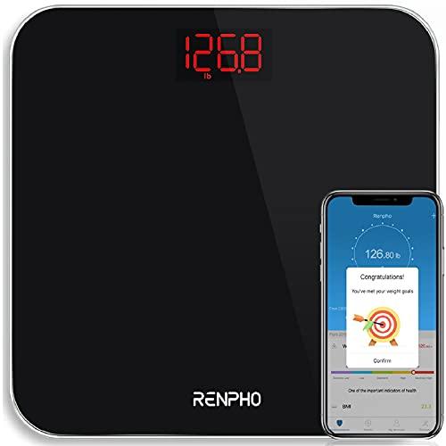 Bilancia Pesapersone BMI Bluetooth, RENPHO Bilancia Pesa Persone Digitale Intelligente con App Smartphone, Bilancia di Precisione con Lettura Grande LED Display, Capacità 180kg/400lb, Nero