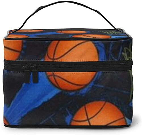 Cesta de baloncesto (4) diseño grande bolsa de maquillaje para mujer, portátil, organizador de viaje con cremallera de malla cepillo de bolsillo con asa chica