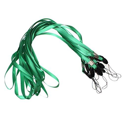 CKB Ltd 50 x groen groen Lanyard band halsband halsband voor ID Card ID-kaarthouder / houder voor mobiele telefoon Ideaal accessoire voor camera, USB, sleutelhanger, mobiele telefoon, Mp3 enz. Access Pass Holder Loop Clip