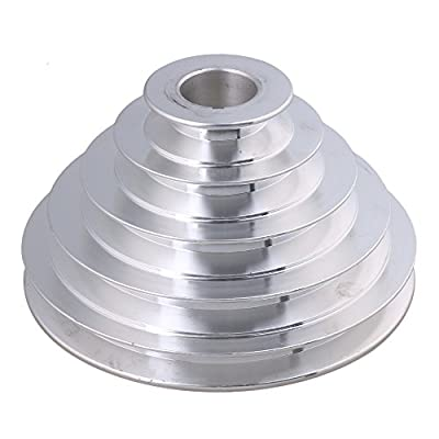 BQLZR 54mm to 150mm Outter Dia 28mm Bore Width 12.7mm Aluminum 5 Step Pagoda Pulley Belt for A Type V-Belt Timing Belt