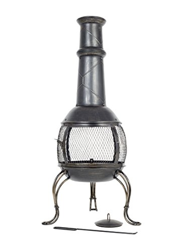 La Hacienda Leon Large Mesh Steel Chimenea, Bronze Effect