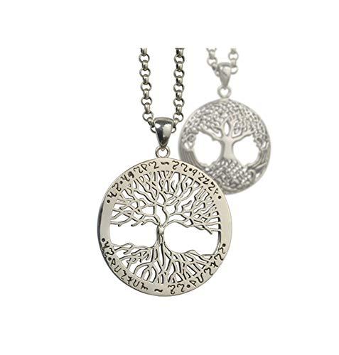 Collana con ciondolo rotondo a forma di albero della vita, in argento 925, per uomini e donne, alla moda, alla moda, ornamento maglione catena lunga, 123, Piccole, 45cmchain