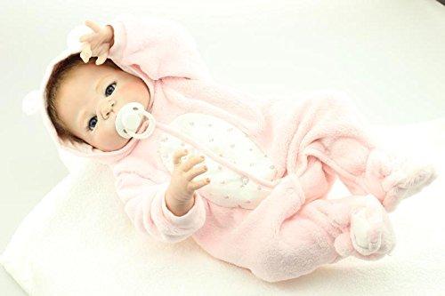 Nicery Reborn Baby Doll Réincarné bébé Poupée Difficile Simulation Silicone Vinyle 22 Pouces 55cm Bouche Qui Semble Vivant Imperméable Garçon Fille Jouet Vif réaliste Âge 3+ Girl Toy Pink Animal
