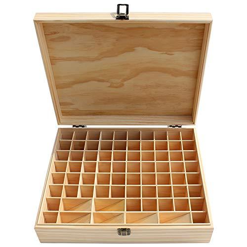 Honglimeiwujindian Aufbewahrungsbox für Atherische Öle Großes 74-Slot Holz Ätherisches Öl Storage Box Natürliche Kiefernaromatherapie ätherisches Öl Tragetasche (Farbe : Natural, Size : 34X27.5X9CM)