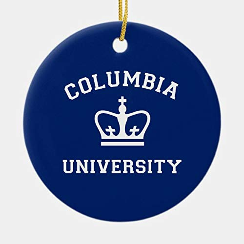 rfy9u7 Round Ceramic Christmas Ornaments Gift, Columbia University White Crown Ceramic Ornament, 3 Inch Decorative Hanging Ornaments Holiday Home Decor