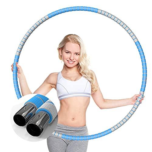 KINBETA Hula Hoop, Hula Hoop Reifen Erwachsene Zur Gewichtsreduktion und Massage Verwendet Werden KöNnen,8 Segmente Abnehmbarer Hoola Hoop Geeignet Für Fitness Hellblau