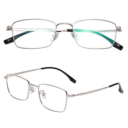 老眼鏡 軽い ブルーライトカット チタン合金 ケース付き メンズ レディース シルバー 度数+1.50 L8232