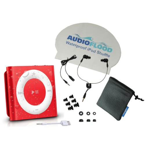 AudioFlood Waterproof Apple iPod Shuffle with True Short Cord Headphones - Red