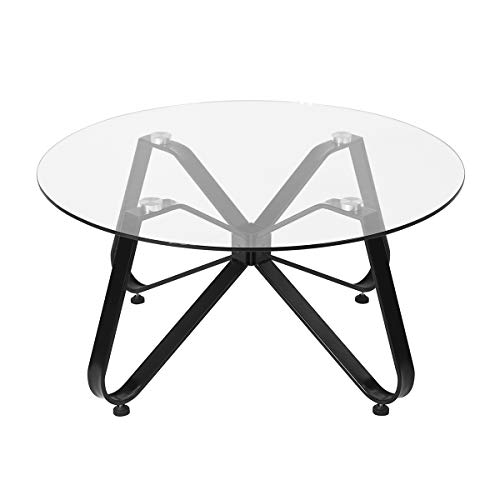 Mesa de café redonda de cristal templado, mesa de sofá minimalista nórdica mesa auxiliar moderna, mesa auxiliar con base de hierro negro para el hogar sala de estar, patio jardín 80 x 80 x 40 cm