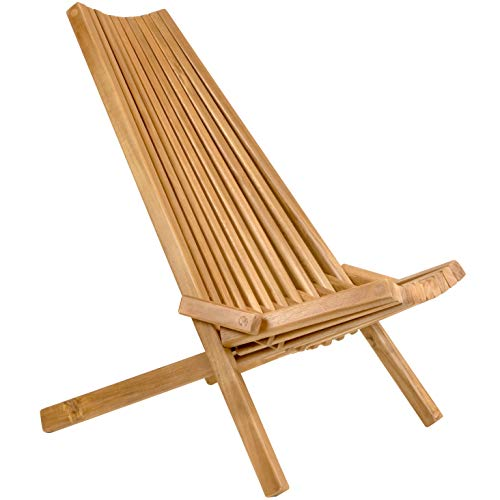 CleverMade Tamarack Folding Wooden Outdoor Chair – Foldable Low Profile Acacia Wood Lounge Chair for the Patio, Porch…