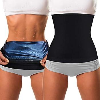 2 Pieces Waist Trimmer for Women Sweat Wrap Sweat Waist Trainer Sweat Tummy Workout Belt Stomach Wraps for Bodybuilding  Blue Inner L