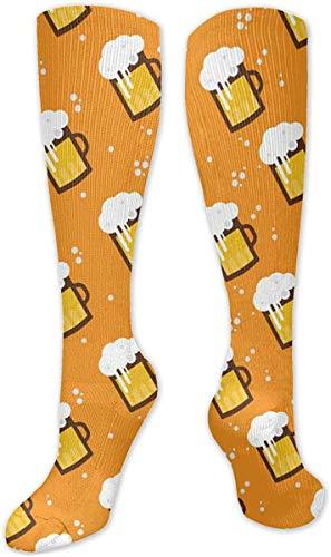 Bierglas Becher Unisex Fashion Casual Crew Socken Rundhals Socken Kleid Socken 50cm Gr. Einheitsgröße, weiß